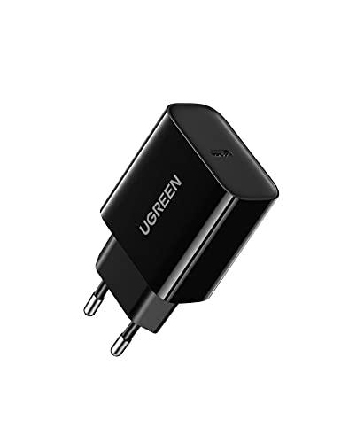 UGREEN 20W Cargador USB C Power Delivery 3.0 Carga Rápida para iPhone 12 12 Pro 12 Mini 12 Pro MAX Se 2020 X XS MAX iPad Pro Air, Cargador Tipo C QC 3.0 para Samsung S10 S9 Redmi Note 9 Redmi 9-Negro