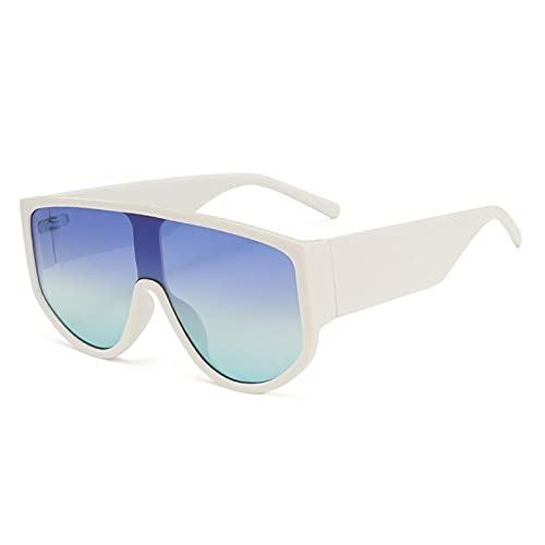 NJJX Gafas De Sol De Gran Tamaño Para Mujer, Gafas De Sol Amarillas A La Moda Para Mujer, Gafas Cuadradas, Blanco-Azul, Verde