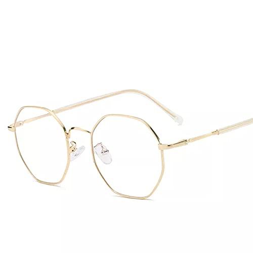 YTYASO Gafas Anti luz Azul con Montura de Metal, Gafas cuadradas ópticas Redondas, anteojos Lisos para Hombres y Mujeres Unisex