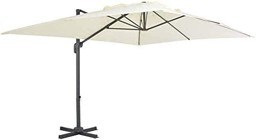 YZJL Sombrillas Paraguas de Mercado Compensado en voladizo, sombrilla giratoria de 360 Grados con Poste de Aluminio, para terraza, jardín, Piscina, Tienda marquesinas y toldos