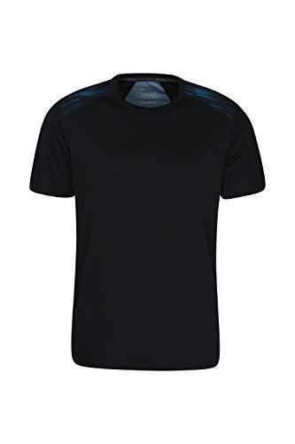 Mountain Warehouse Camiseta Aspect Serigrafiada, para Hombre - Ligera, Alta absorción de la Humedad, Secado rápido, Cuidado fácil - Ideal para Viajes y acampadas Azul L