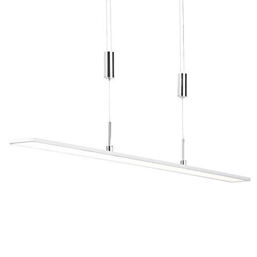 Gavan LED Pendelleuchte 100cm in weiß/chrom, stufenlos dimmbar über Wanddimmer, 35 Watt, 3100 Lumen, 3000 Kelvin