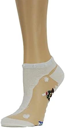 Pretty White Ankle Sheer Socks,,100% Nylon Sheer Socks - Breathable and Lightweight Summer Ankle Socks for Women, Custom Socks with Beads