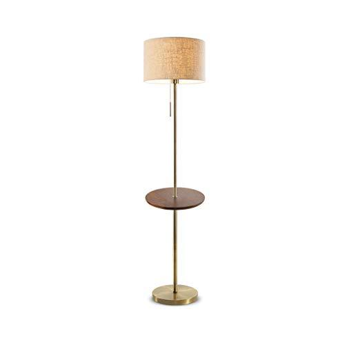 EIU staande lamp, LED-stoffen lampenkap, smeedijzeren lamp, staande lamp, met ronde tafel leestafellamp, grote kroonluchter, voor woonkamer, kantoor, slaapkamer M20-02-17