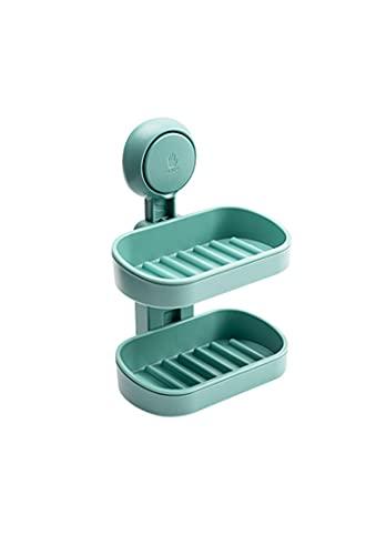 Soporte de jabón para ducha con ventosa de doble capa montado en la pared, sin perforaciones, extraíble, para baño, cocina, fregadero y bañera