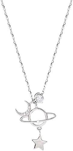 Aluyouqi Co.,ltd Collar para Mujeres Hombres Hermoso Planeta Luna y Estrellas Joyería Personalidad Collar de Cadena de Clavícula de Cristal