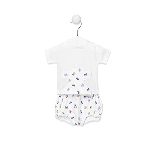 TOUS BABY - Conjunto 2 Piezas para tu Bebé. Camiseta y pololo Estampado Half Bear. Color Blanco. (Tallas 0 a 18 Meses) (12-18 Meses)