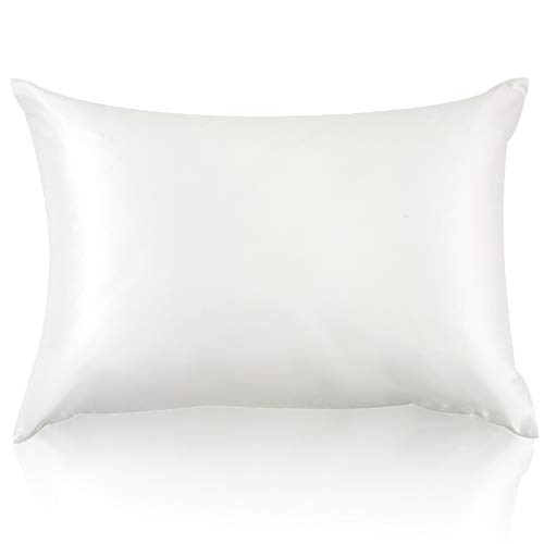JZS Funda de almohada 100 % seda de morera natural, doble cara, 19 momme para el cabello y el cuidado de la piel, con cremallera reforzada, 1 pieza de 80 x 80 cm