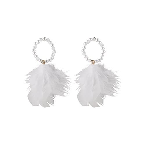 Skyscraper Pendientes de plumas de perlas estilo bohemio, pendientes bohemios estilo vintage, pendientes de gancho de gota para mujeres y niñas