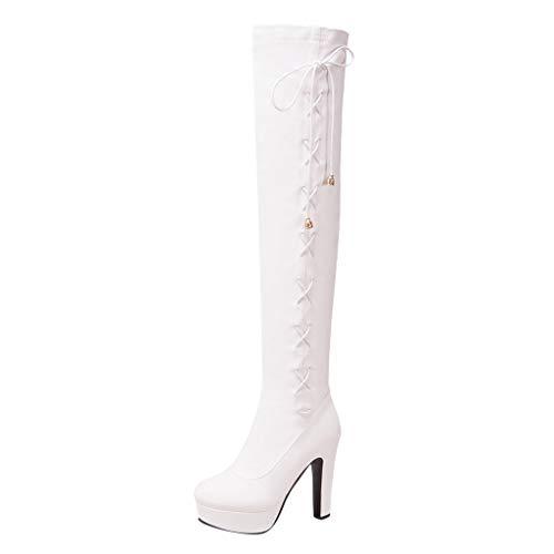 Damen Stiefel Einfarbiger Leder Rundkopf Schuhe High Heels Overknee-Stiefel Lace-up Langes Rohr...