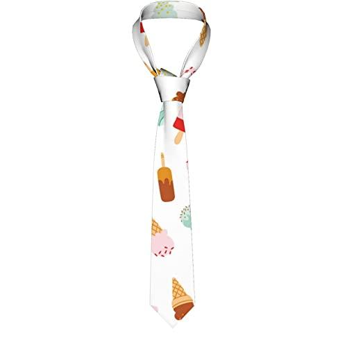 Paedto Corbatas de Hombre, Corbatas de Moda de Novedad para Hombres Corbata Delgada para Caballeros, Lazos de Moda para Negocios Formales Informales (Helado)-8x145cm