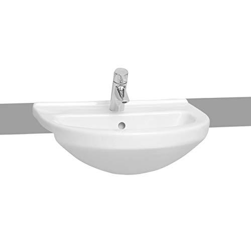 VitrA S50 Waschbecken, 55 x 45 cm, rund, mit einem Hahnloch, Weiß