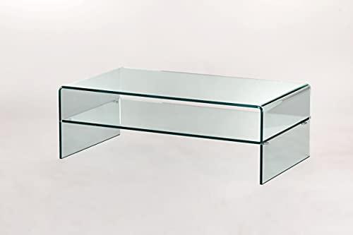 IMAGO FACTORY Grace R=0 (esquinas radio mínimo) Shelf   Mesa de salón – Mesa de salón moderna, mesa de cristal para salón, mesa de café, diseño moderno