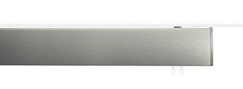 indeko OVUM, ovale Gardinenschiene mit Innenlauf auf Maß zur Deckenmontage,1-Lauf, edelstahloptik, Komplettset mit Zubehör
