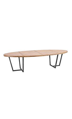 DENZZO - Tavolo da pranzo ovale in legno naturale, 200 cm, Downtown