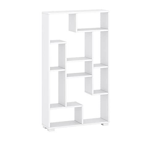 Scaffale a parete autoportante orizzontalmente o verticalmente montato libreria RTV stand multiuso colore bianco