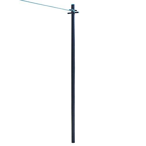 JVL Kleidung Pole Post mit Wäscheleine und Bodenhülse, schwere, dunkelgrau Blaugrün, 2,4m