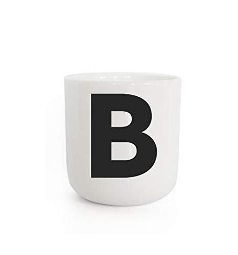 PLTY - Becher - Tasse ohne Henkel - Handglasiertes Weiß Porzellan - Hochwertiges Bone China - Tasse mit Buchstaben - B - The Wave
