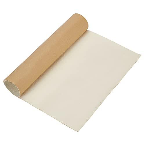 BENECREAT Parche de Reparación de Cuero Adhesivo 60x30cm para Muebles de Asiento de Coche y Sofá (Blanco, 0.8mm de Espesor)