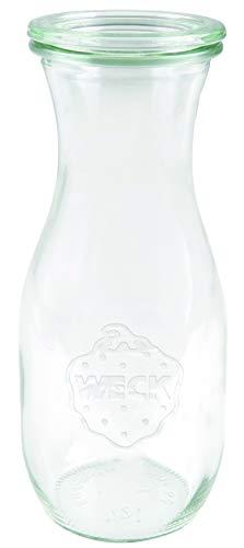 Weck Saftflasche 1 l (Hochwertiges Einweck, Einmach Glas mit Glasdeckel; geeignet für Flüssigkeiten; Hitzebeständig; Mikrowellengeeignet; Backofengeeignet; Rundrandglas) 766, 6 Stück