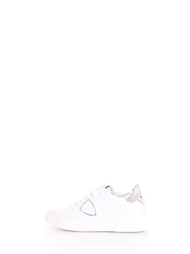 Philippe Model Sneaker Donna Temple S Veau Metal Phyton BYLD VY04 Blanc Argent Pelle Bianca PE20 36