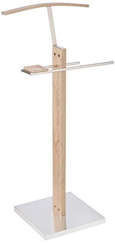 HAKU Möbel 38841 Herrendiener 46 x 35 x 110 cm, eiche hell / edelstahloptik
