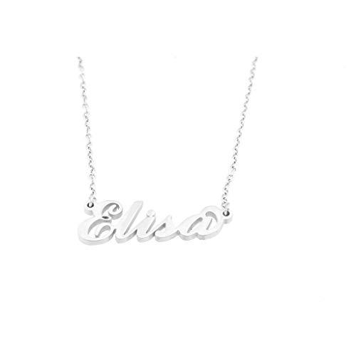 Flowers - Collar de acero pulido con nombre, estilo Carrie Bradshaw de Sexo en Nueva York, máxima elegancia, ideal como regalo Elisa