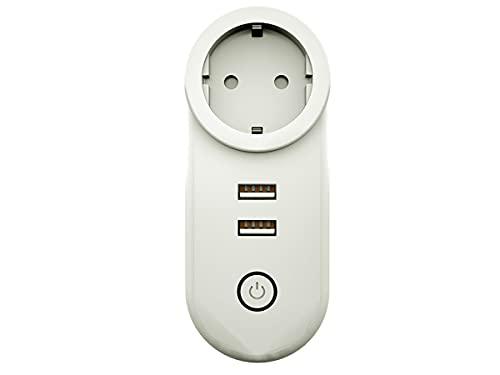 ZigBee - Enchufe inteligente ZigBee 3.0 con 2 puertos USB 16 A 220 V, compatible con Alexa Google Philips Hue Samsung Smartthings
