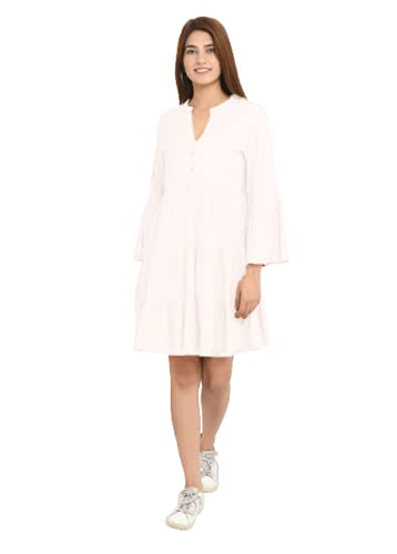 Bae's Wardrobe Solid Plain Rayon Western One Piece Dress Midi Dress Fit and Flare Frock – Knee Length Dresses for Women & Girls