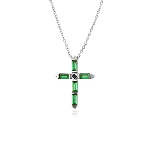 Collar con Colgante de Cruz Colorida de Plata de Ley 925, joyería Fina de Cadena Larga