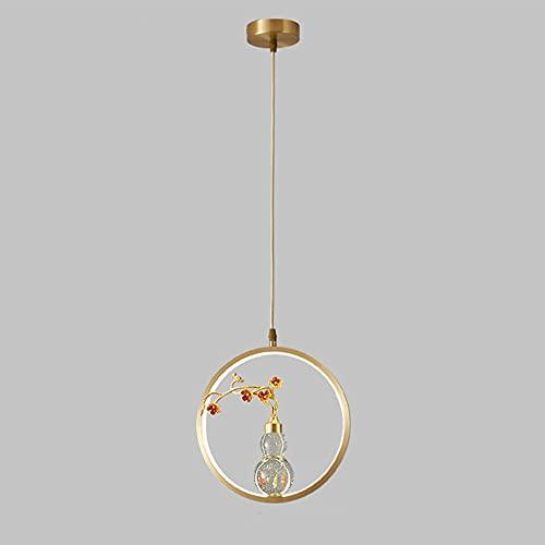 NAMFXH Lámpara de Personalidad Creativa Lámpara de Techo Minimalista Moderna Lámpara de suspensión de Cobre Cabeza única Fuente de luz LED Lámpara Colgante Comedor Dormitorio Iluminación