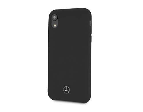 Mercedes-Benz Schutzhülle kompatibel zu iPhone XR (Silikon, leicht zugängliche Anschlüsse, offizielles Lizenzprodukt) Schwarz