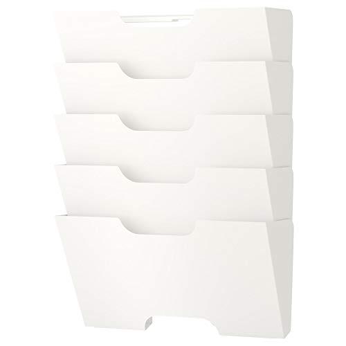 Ikea Kvissle 5 Shelve Metal  Wall Magazine File Rack, White