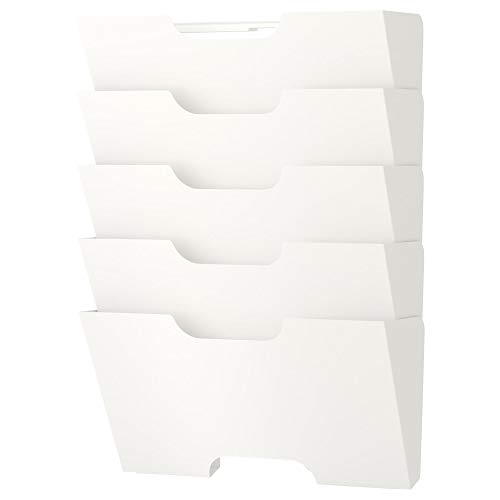 Ikea Kvissle 5 Shelve Metal  Wall Magazine File Rack, White