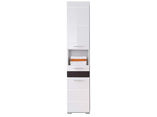 trendteam smart living  Badezimmer Hochschrank Schrank Mezzo, 37 x 182 x31 cm in Weiß Hochglanz, Absetzung Eiche Melinga Rillenstruktur Dunkel (Nb.) mit viel Stauraum und offenem Fach