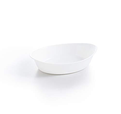 Luminarc - Plat ovale Blanc Smart Cuisine Carine 250°C - Plat à Four en Verre Innovant - Léger et Extra-Résistant - Nettoyage Facile - Fabrication en France - Dimensions 21x13 cm