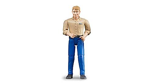 Bruder 60006 - Mann mit hellem Hauttyp und blauer Hose, 3-dimensional bewegliche Gliedmaßen und Kopf