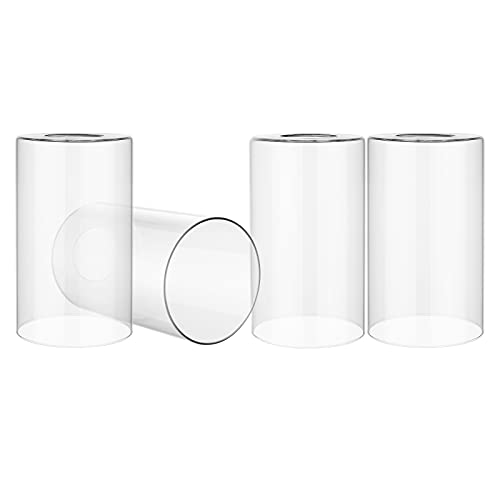 Canomo 4 Packs Clear Glass Light Shade Cylinder Transparent Glass Lamp Shade Replacement 6 Inch Height Fit 2-1/4 Fitter for Wall Lamps Chandeliers or Ceiling Lamps