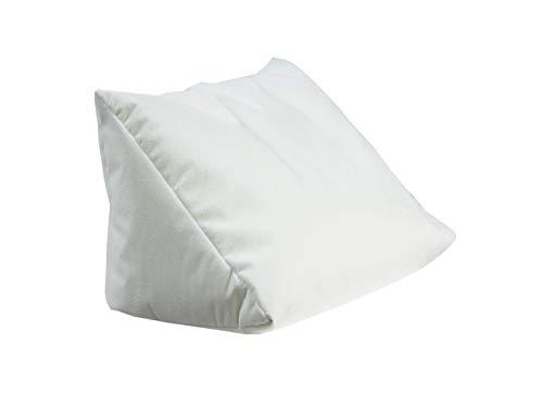 Lesekissen und Rückenstütze Proton für optimalen Sitzkomfort, Keilkissen, Nackenkissen, Dekokissen, Fernsehkissen für Bett und Couch, mit Schaumstoffflocken (Creme-weiß)