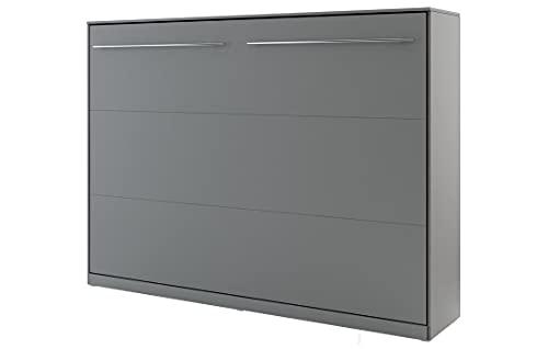 Schrankbett Concept PRO Horizontal, Wandklappbett, Bettschrank, Wandbett, Schrank mit integriertem Klappbett, Funktionsbett (140 x 200 cm, Grau, Horizontal)