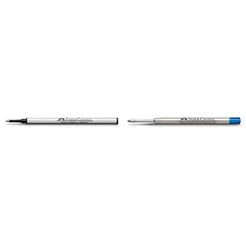 Faber-Castell - Cartucho de tinta de recambio para bolígrafo, color negro + Cartucho de tinta de recambio para bolígrafo (punta gruesa), color azul