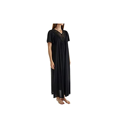 Shadowline Women's Plus Size Beloved 53 Inch Flutter Sleeve Long Gown, Black, 1X