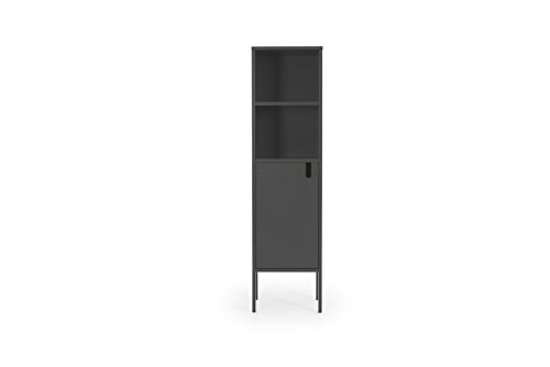 TENZO 8561-014 UNO Designer Highboard 1 Tür, Grau lackiert, MDF + Spanplatten, matt Soft-Close Funktion, 152 x 40 x 40 cm (HxBxT)