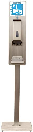 Eliservice - Columna de pie con dispensador de codo de higienizante, gel o jabón para manos, tipo hospital, llenado con depósito de 1,2 litros, de acero inoxidable