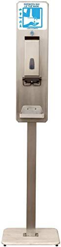 Eliservice Columna de pie con dispensador de codo de higienizante, gel o jabón para manos, tipo Hospital, rellenado con depósito de 1,2 litros, de acero inoxidable