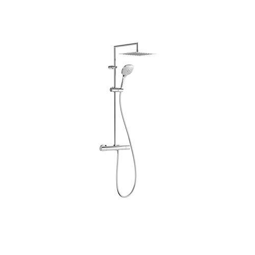 Conjunto de grifo termostático mural de 2 vías para ducha, gama Tresmostatic, con rociador de 25 x 25 cm y ducha de mano, acabado cromo (referencia: 20539502)