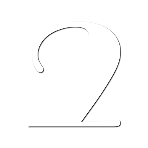 House Number 2 Broadway Door Numbers in 3 Sizes (15, 20, 25cm / 5.9, 7.8, 9.8in) Modern Floating House Number Acrylic incl. Fixings, Colour:White, Size:20cm / 7.9'' / 200mm