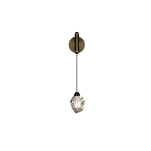 Lámpara de pared LED de cobre de 7w, aplique de noche en dormitorio de lujo con luz, iluminación de pared de fondo para sala de estar, accesorio de pasillo de restaurante de hotel, pantalla de cristal