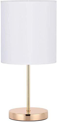 HAITRAL Lámpara de mesita de noche – Lámpara de mesa moderna para dormitorio, oficina, salón estudiante con base de metal y tela