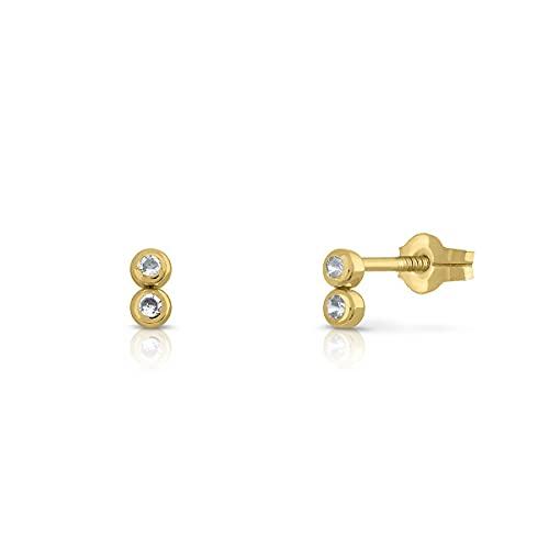 Pendientes Oro de Ley Certificado/Niña/Mujer. Cierre de presión. Medida 3x6 mm. (1-4578)